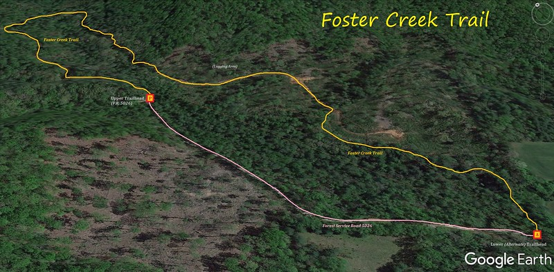 Foster Creek Trail Hike Route Map