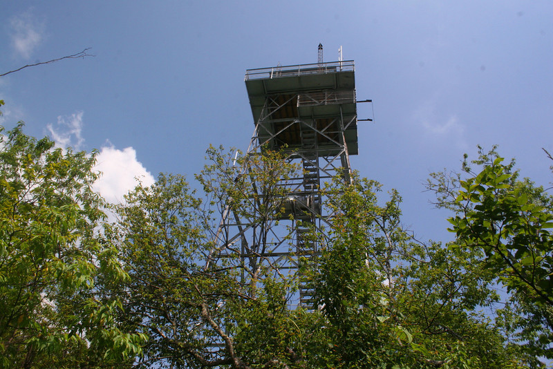As I mentioned earlier the tower atop Fryingpan is the highest in the southern mountains, standing some 70' high.  It was built in the 1940's and was staffed up until the 1990's.  It is now a registered National Historic Landmark and, happily, is open to climb up to just below the crib (the enclosed upper section)...