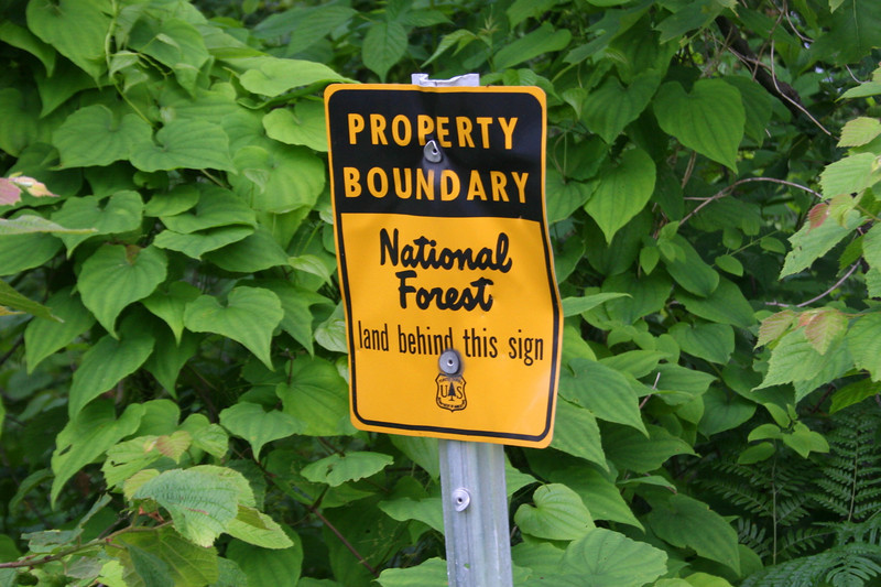 This little sign confused me...as we were hiking a Forest Service road to a Forest Service lookout I had assumed this was <i>all</i> Forest Service property...