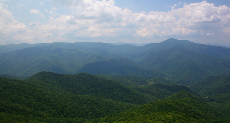 It doesn't take long to get above the trees at which point views like this start to overwhelm your senses.  This is the view to the north and west over the East Fork Pigeon River Valley with the massive Shining Rock Ridge and Cold Mountain dominating the skyline beyond...