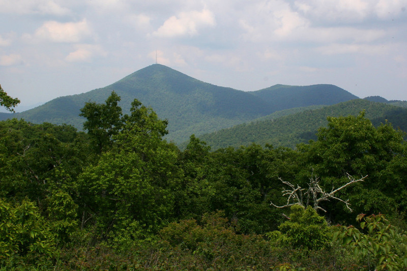 The distinctive summit cone of Mt. Pisgah rises above the trees as the views start to open up beneath the tower...