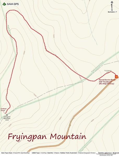 Fryingpan Mountain Hike Route Map