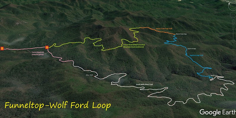 Funneltop-Wolf Ford Loop Hike Route Map