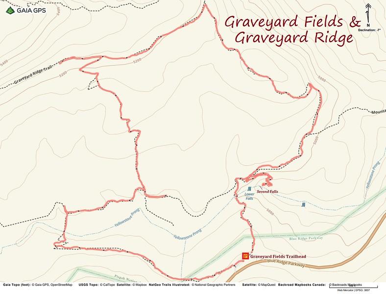 Graveyard Fields Hike Route Map