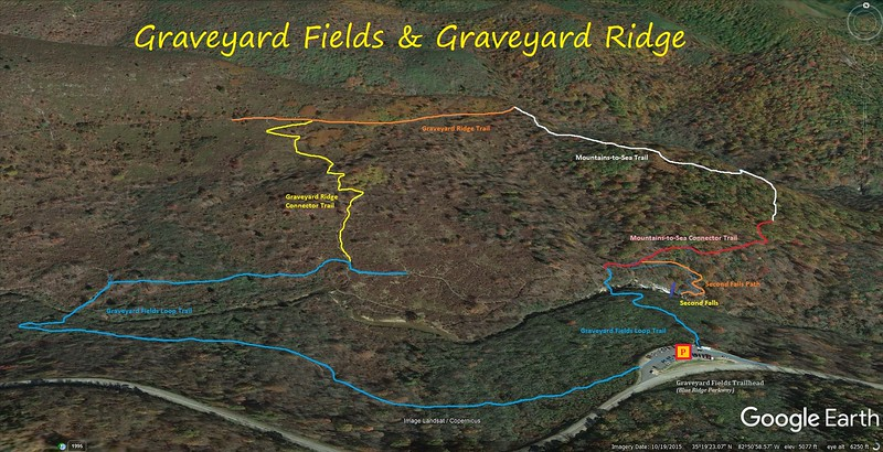 Graveyard Fields Hike Route Map