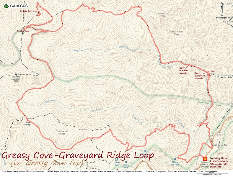 Greasy Cove-Graveyard Ridge Loop Hike to Grassy Cove Top Route Map