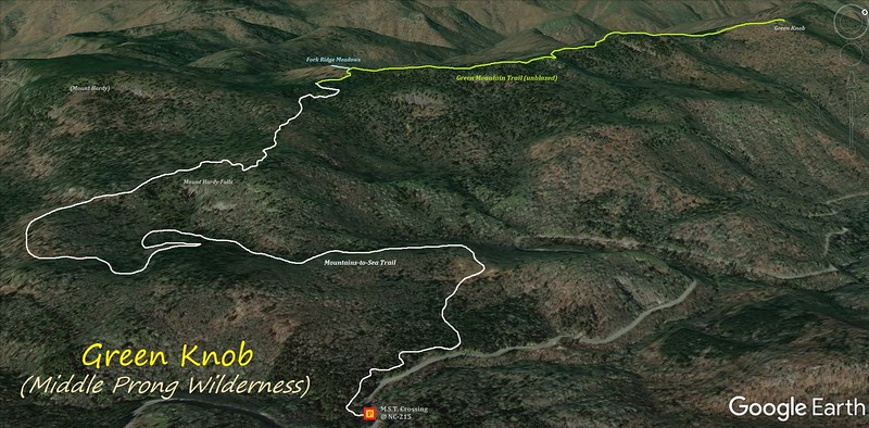 Green Knob Hike Route Map
