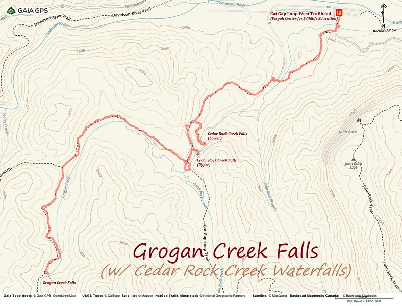 Grogan Creek Falls Hike Route Map