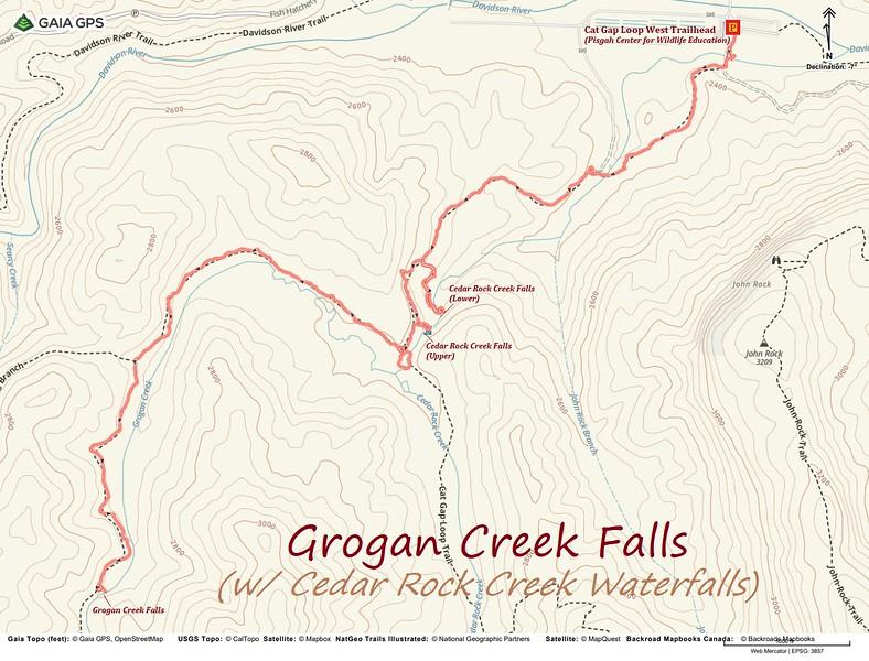 Grogan Creek Falls Hike Route Map
