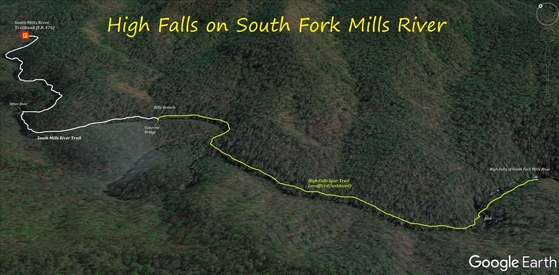 High Falls on South Fork Mills River Hike Route Map