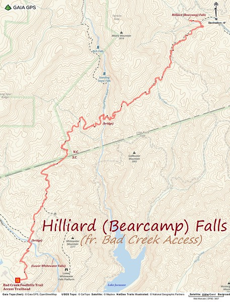 Hilliard Falls Hike Route Map