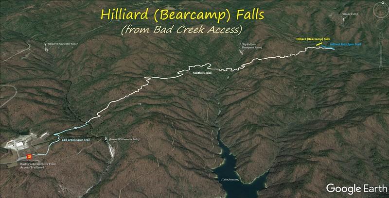 Hilliard Falls Hike Route Map