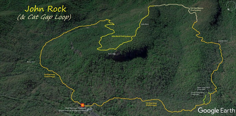 John Rock & Cat Gap Loop Hike Route Map