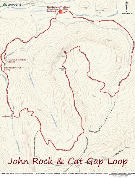 John Rock & Cat Gap Loop Hike Route Map