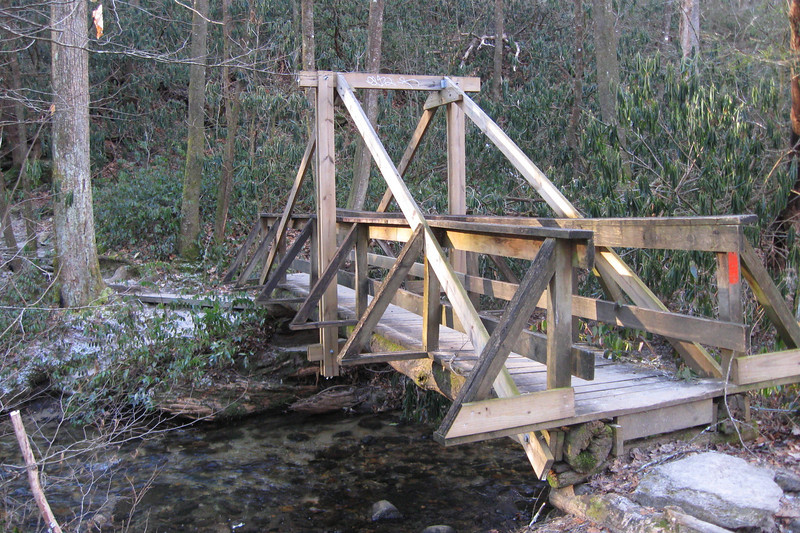 A rather over-complicated bridge crosses a small tributary as the trail veers away from the Davidson...