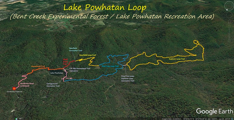Lake Powhatan Loop Hike Route Map