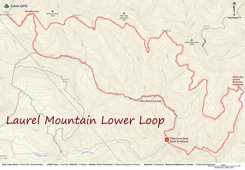 Laurel Mountain Lower Loop Hike Route Map