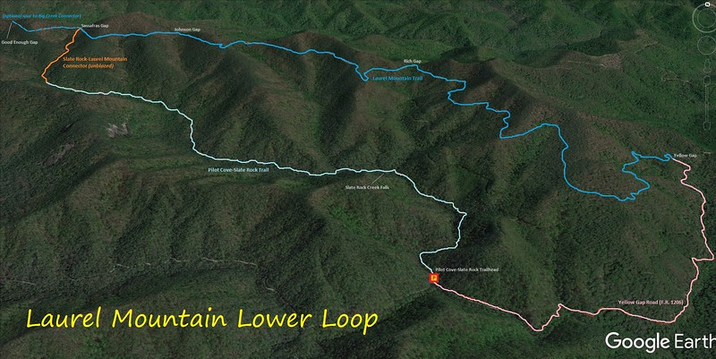 Laurel Mountain Lower Loop Hike Route Map