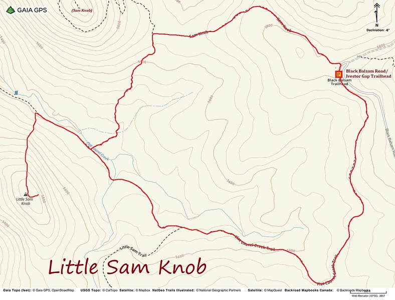 Little Sam Knob Hike Route Map