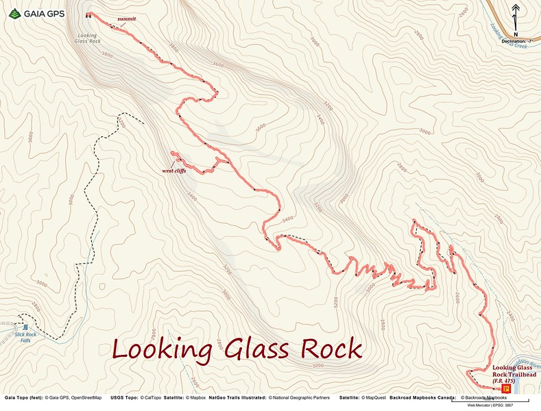 Looking Glass Rock Hike Route Map