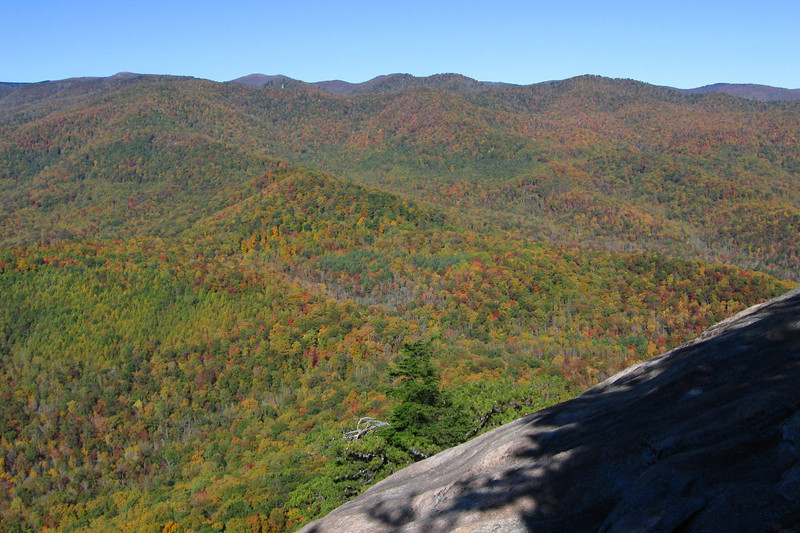 The peaks of Black Balsam Knob (6,214') and Tennent Mountain (6,040') can just barely be spotted peeking over the ridge,,,