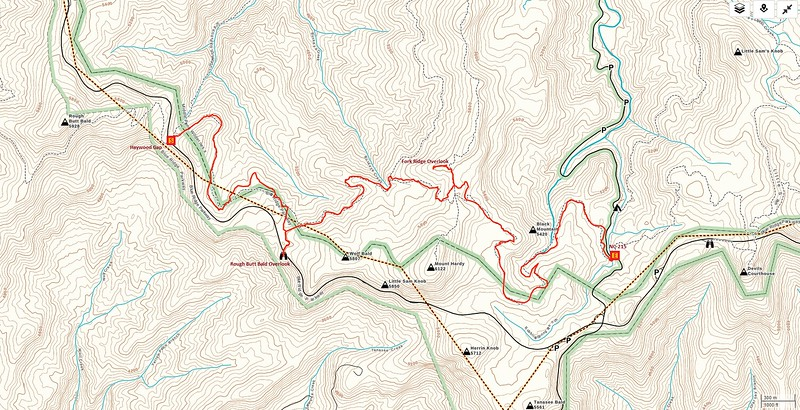MST - Haywood Gap to NC-215 Hike Route Map