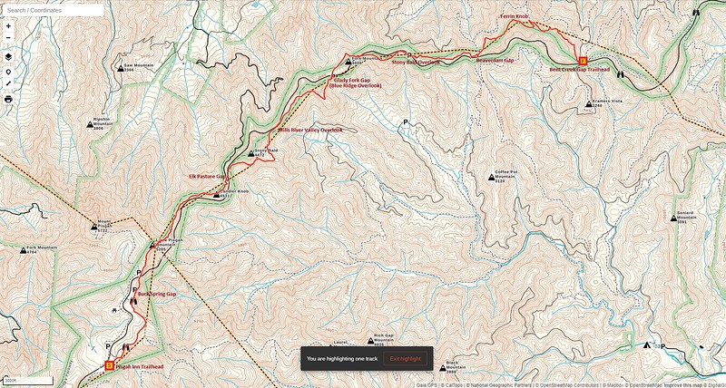 MST - Pisgah Inn to Bent Creek Gap Section Hike Route Map