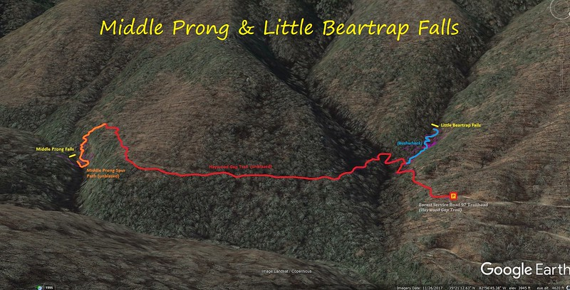 Middle Prong Falls & Little Beartrap Falls Hike Route Map