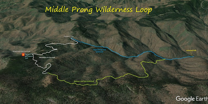 Middle Prong Wilderness Loop Route Map