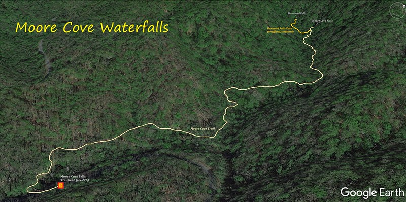 Moore Cove Waterfalls Hike Route Map