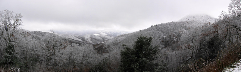 Cold Mountain (left) and Mt. Pisgah (right) with their heads in the clouds...