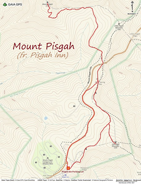 Mount Pisgah Hike Route Map