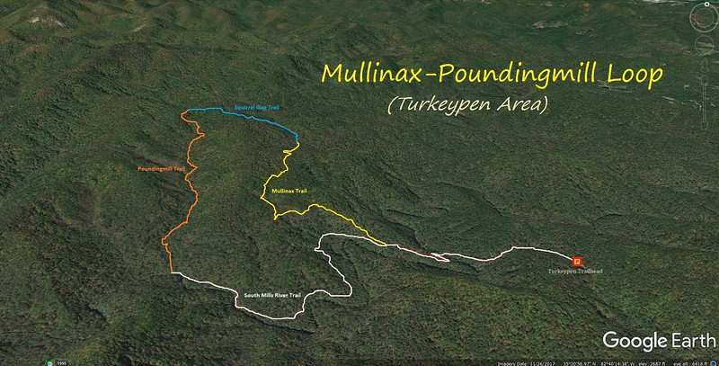 Poundingmill/Mullinax Loop Hike Route Map