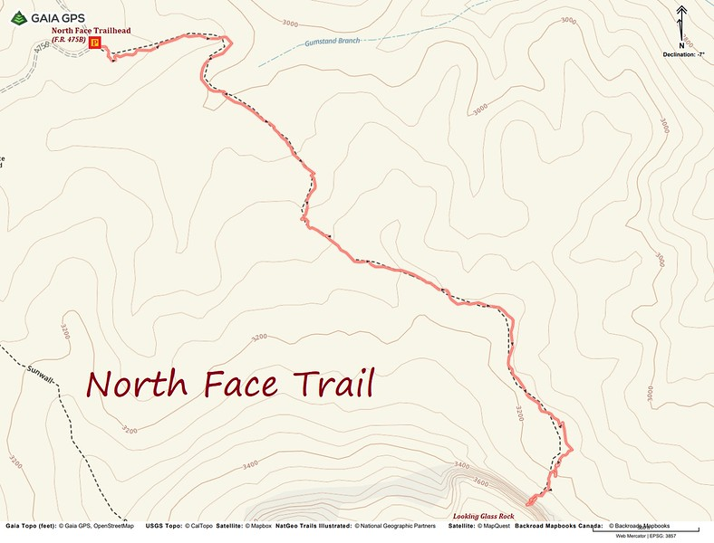North Face Trail Route Map