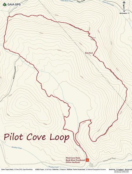 Pilot Cove Loop Hike Route Map