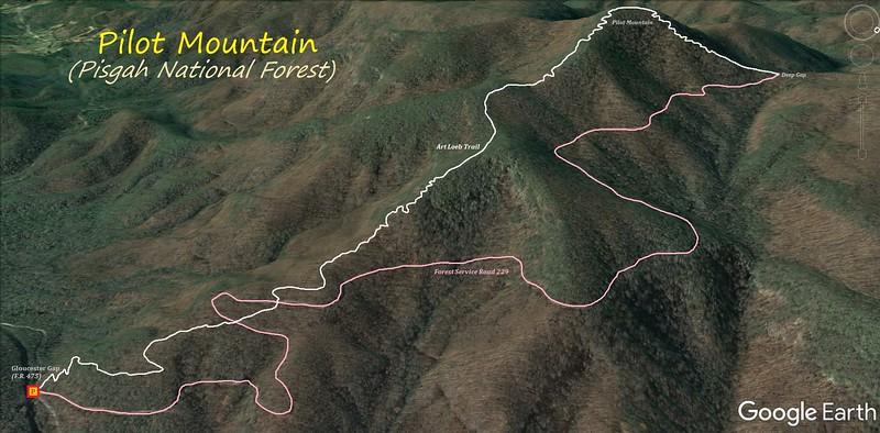 Pilot Mountain Hike Route Map