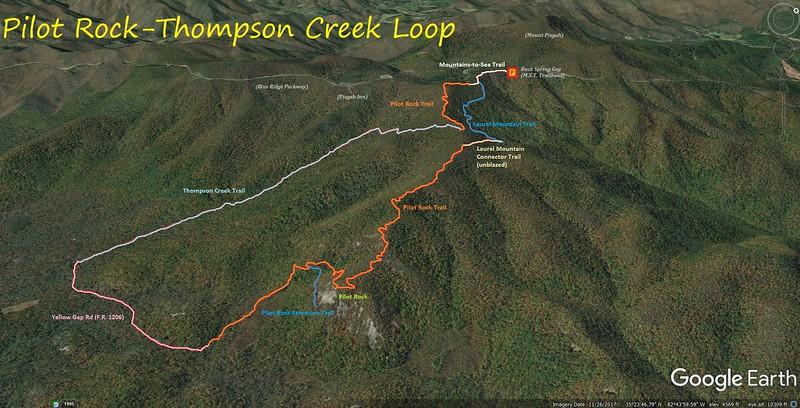 Pilot Rock-Thompson Creek Loop Hike Route Map