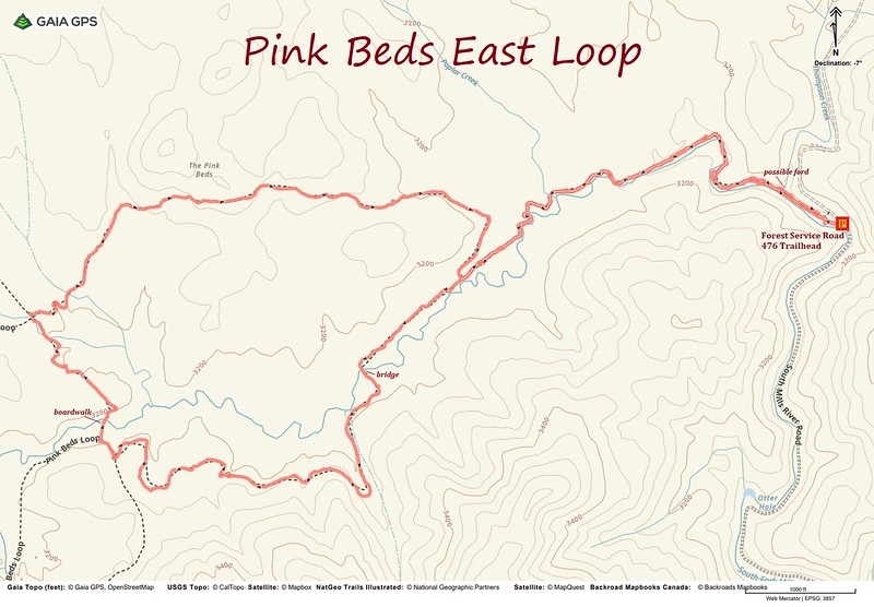 Pink Beds (East Loop) Hike Route Map