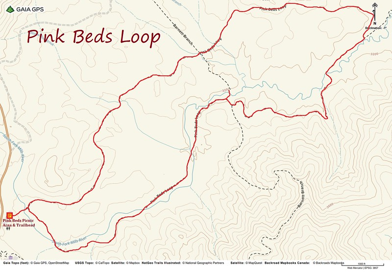Pink Beds Loop Hike Route Map