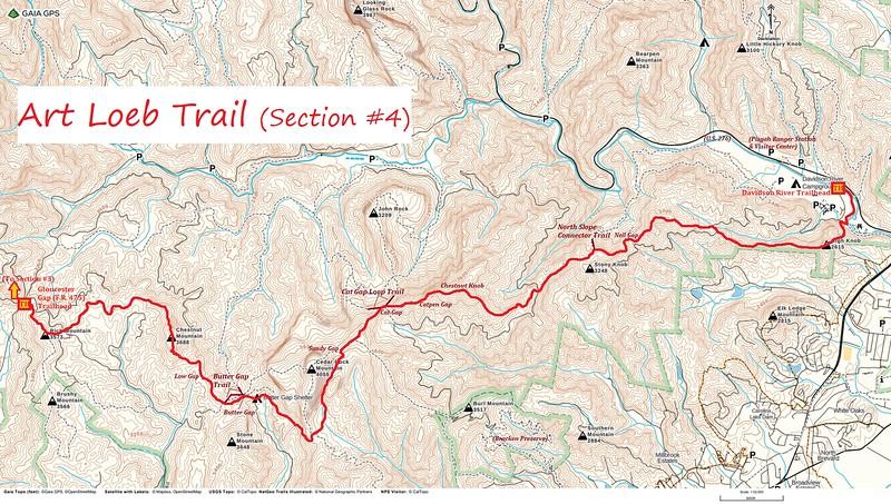 Art Loeb Trail Map (Section #4 -- Gloucester Gap to Davidson River Trailhead)