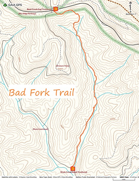 Bad Fork Trail Route Map