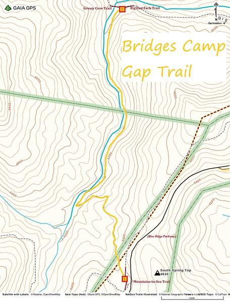 Bridges Camp Gap Trail Map