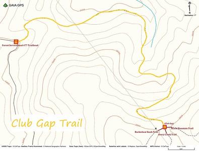 Club Gap Trail Map