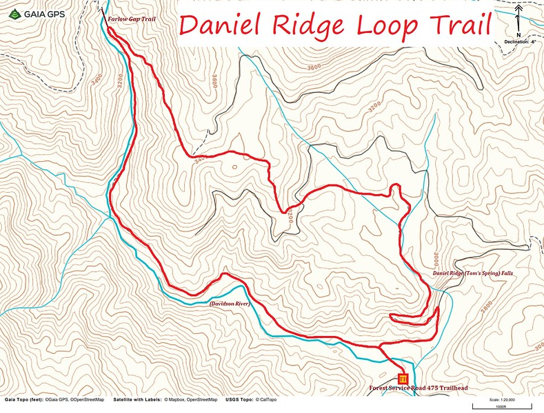 Daniel Ridge Loop Trail Map