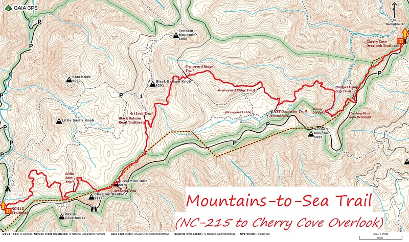 Mountains-to-Sea Trail Map (NC-215 to Cherry Cove Overlook)