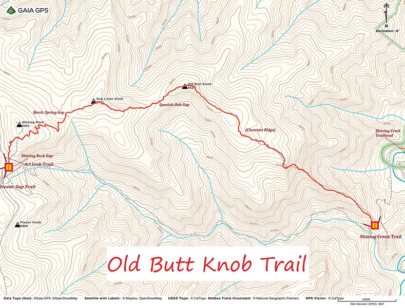 Old Butt Knob Trail Map