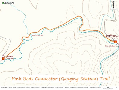 Pink Beds Connector/Gauging Station Trail Map