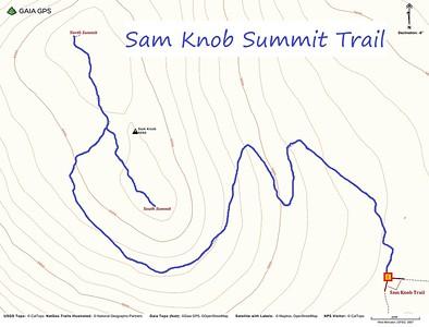 Sam Knob Summit Trail Map