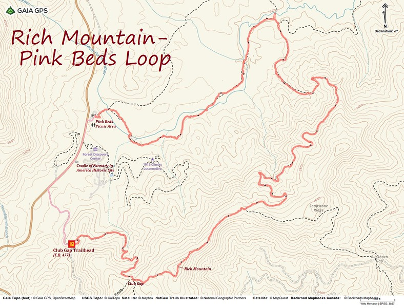 Rich Mountain-Pink Beds Loop Hike Route Map