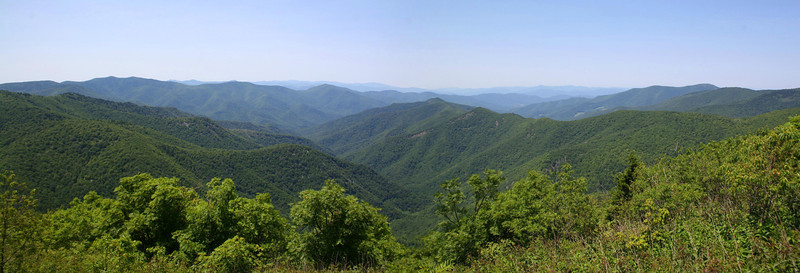 The sweeping view north, over the West Prong Pigeon River valley and beyond, from the north summit.  It blew me away how far you could see despite the 90+ degree temps in the valleys!